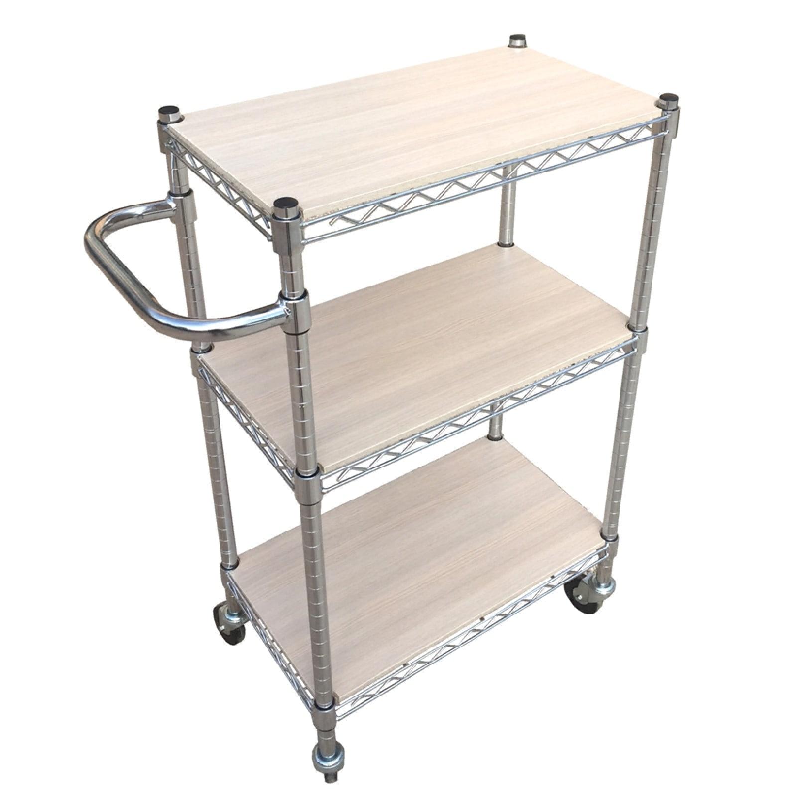 Carrelli in acciaio cromato dotati di copri piani in legno for Piani di coperta e costi