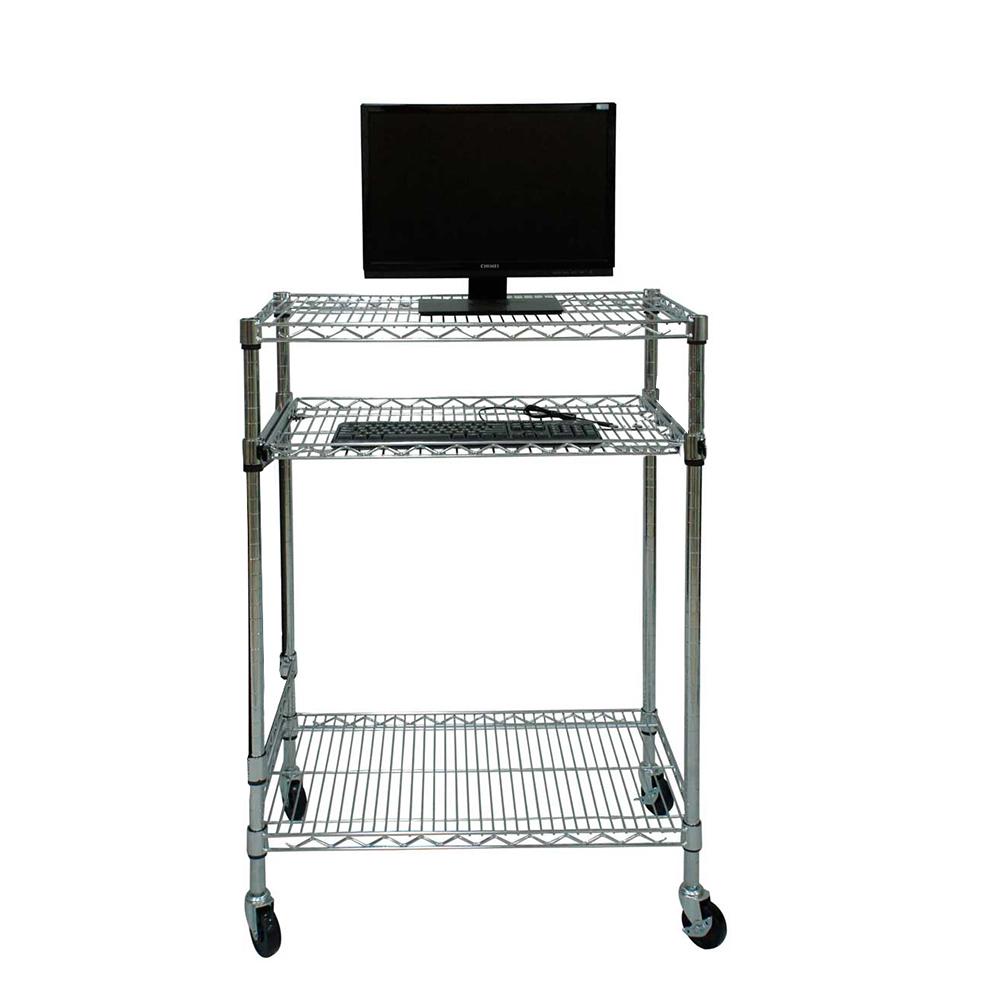 Carrello porta computer in acciaio cromato - Carrello porta pc ...